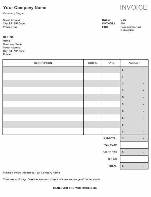 Service invoice with tax calculations