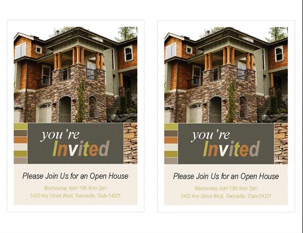 Real estate open house invitation (2 per page)