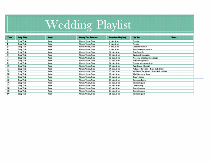 Wedding playlist