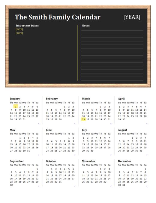 Family calendar (any year, Sun-Sat)