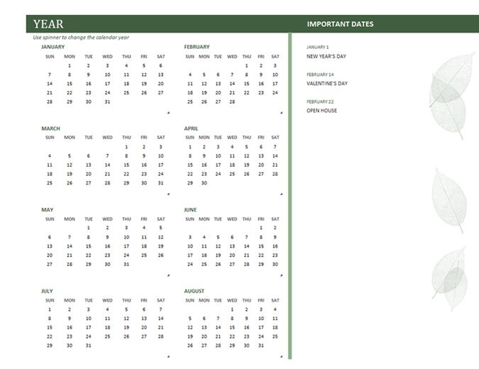 Business calendar (any year, Sun-Sat)