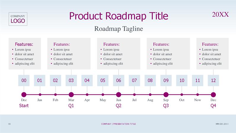 Product roadmap timeline light