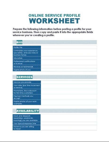 Online service profile worksheet