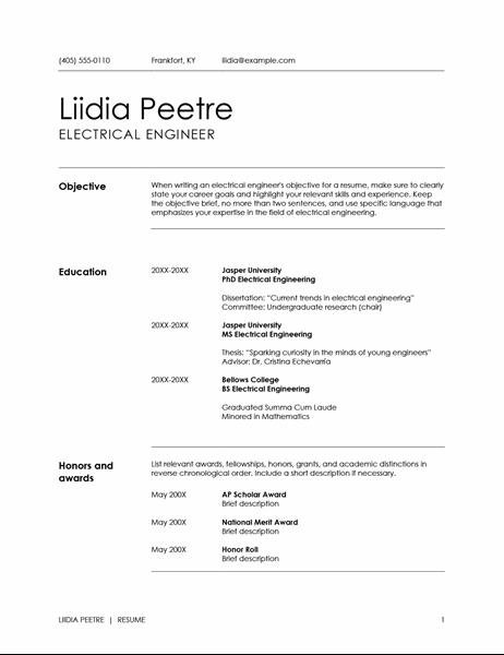 Extended CV (resume)