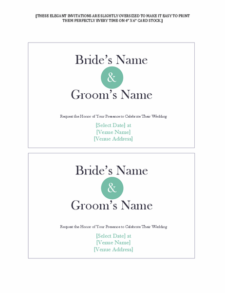 Simple wedding invitations (2 per page)