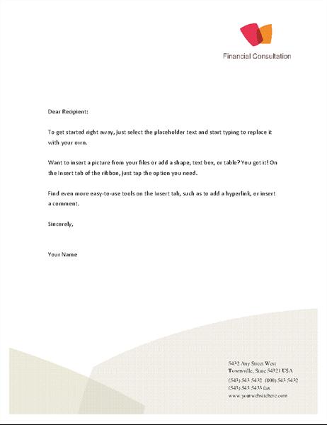 Financial business letterhead