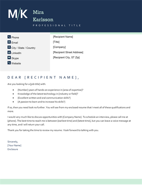 Modern initials cover letter