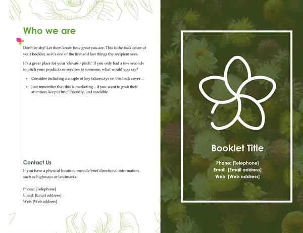 Green floral booklet
