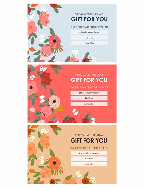 Elegant florals Mother's Day gift certificates