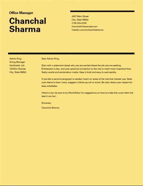 Swiss design cover letter
