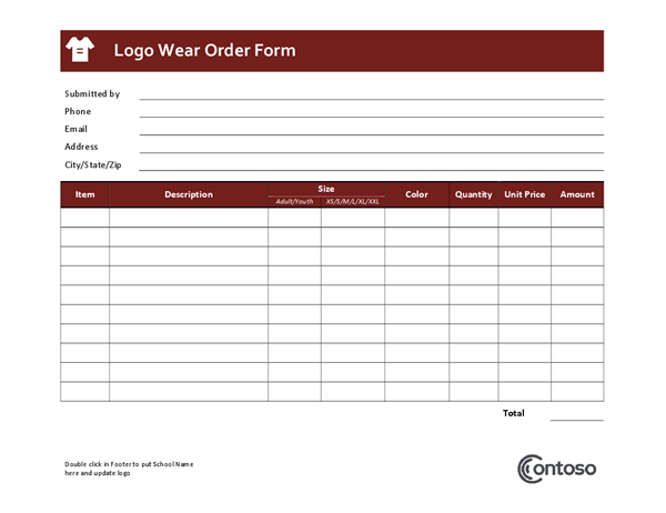 Logowear order form