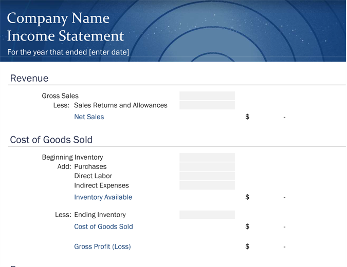Small business income statement