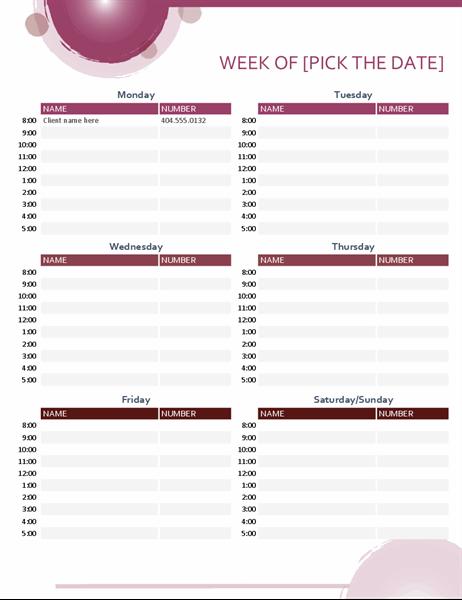 Rose suite appointment calendar