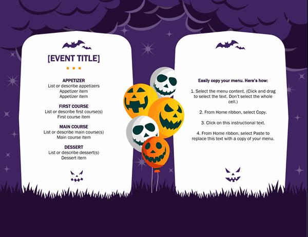 Haunting Halloween menu