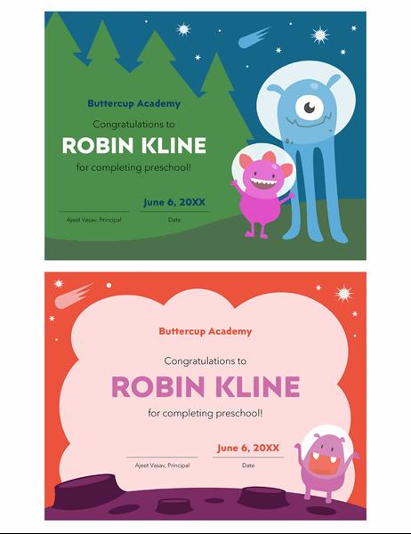 Preschool diploma certificate
