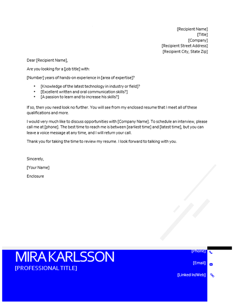 Inverted modern cover letter