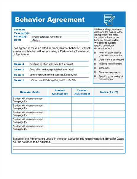 Behavior agreement