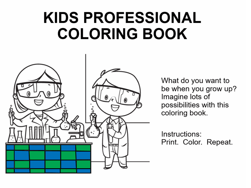 Kid Professionals Coloring Book
