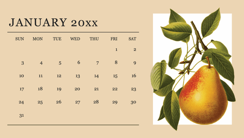 Botanicals monthly calendar
