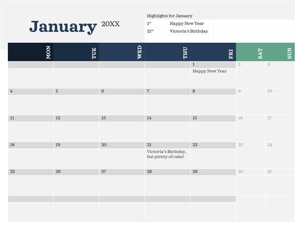 Modern calendar with highlights