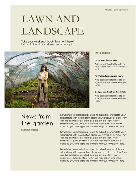 Landscaping newsletter