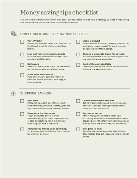 Money saving tips checklist