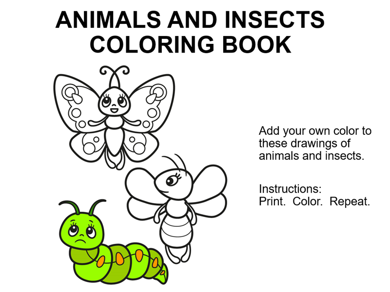 Animals and insects coloring book