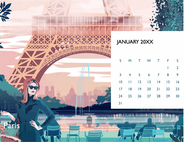 Cityscape monthly calendar