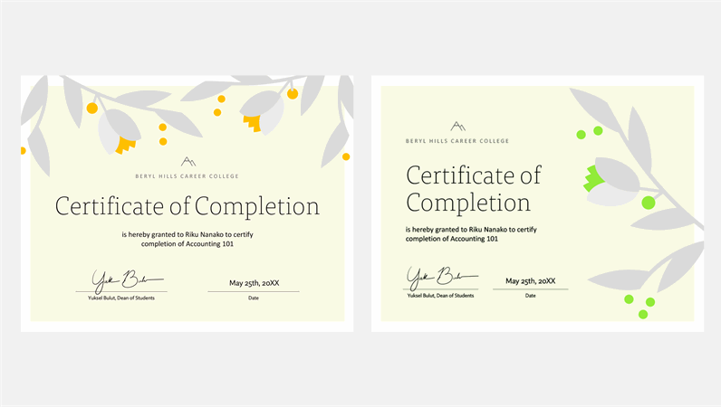 Blooming branch certificate of completion