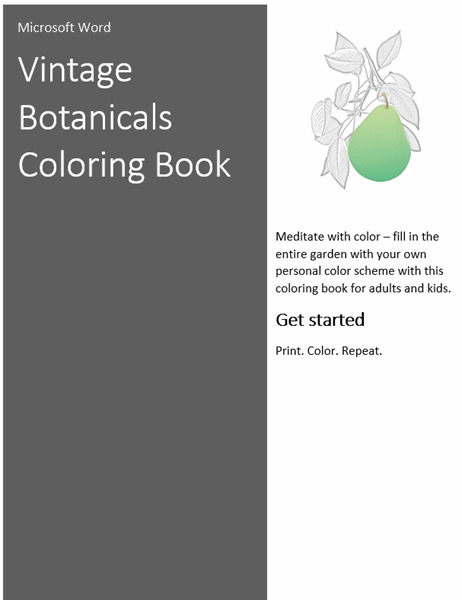 Vintage botanicals coloring book