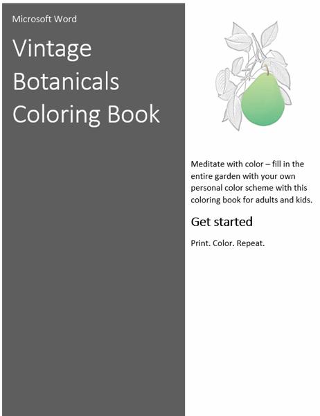 Vintage botanicals coloring book