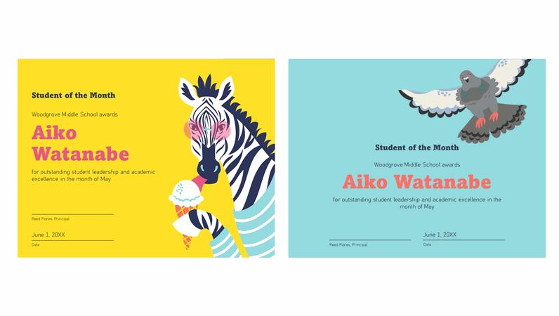 Color block animals student certificate