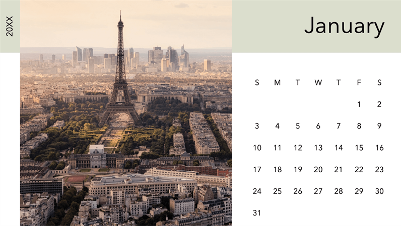 Cityscape photo calendar