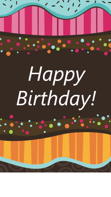 Dots and stripes birthday card (half-fold)