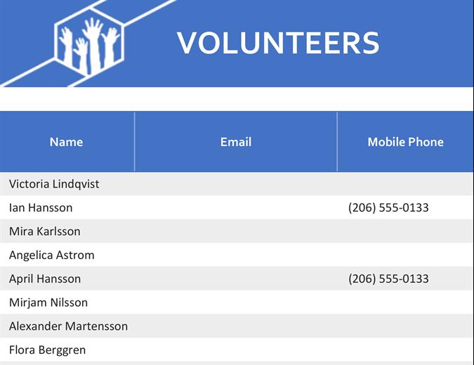 Volunteer assignments