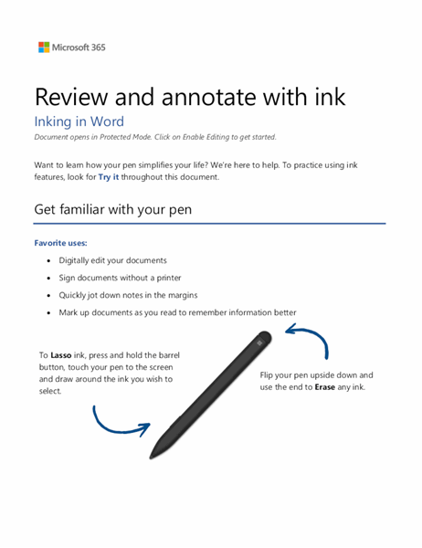 Word Surface Pen tutorial