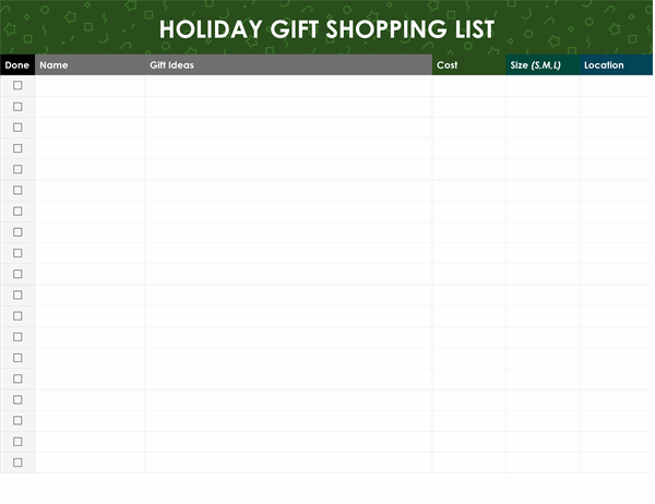Holiday gifts shopping list