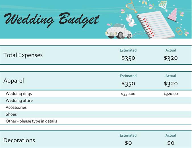 Wedding budget expenses comparison