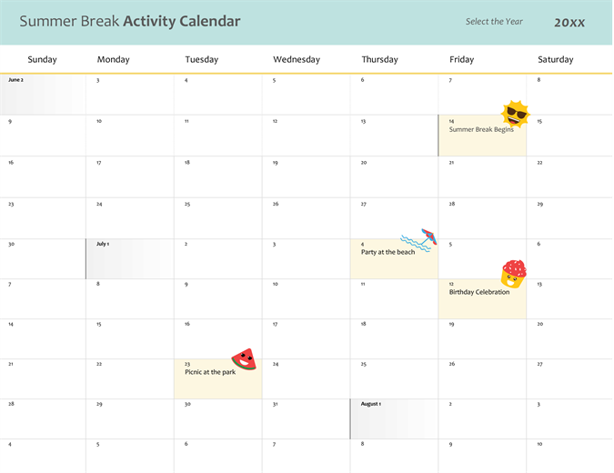 Summer break calendar