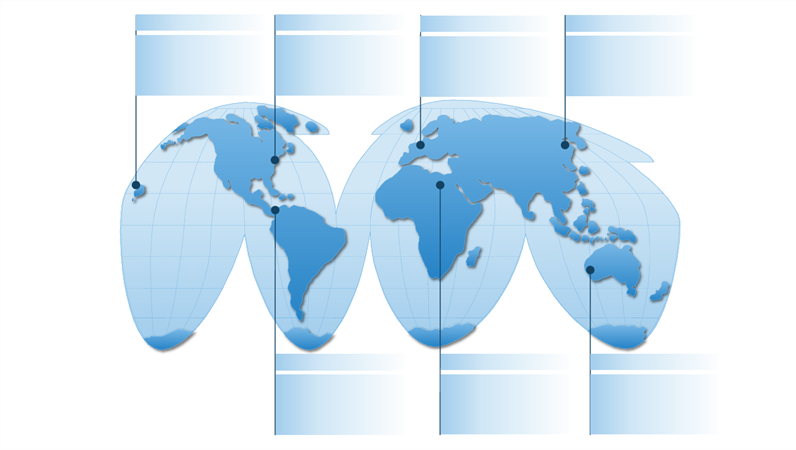 Pseudo cylindrical world map graphic