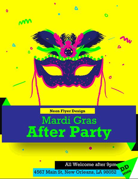 Bright neon Mardi Gras flyer