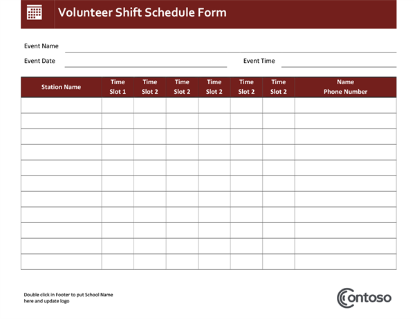 Volunteer shift schedule