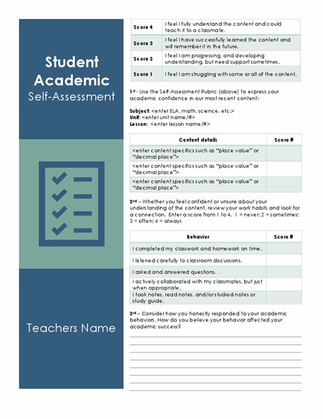 Student Academic Self Assessment Not only are they an important platform for taking a look back over your accomplishments and. student academic self assessment