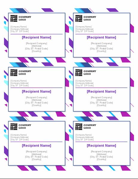 Purple graphic labels (6 per page)