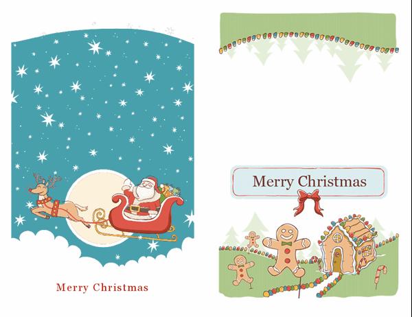 Santa and gingerbread holiday cards