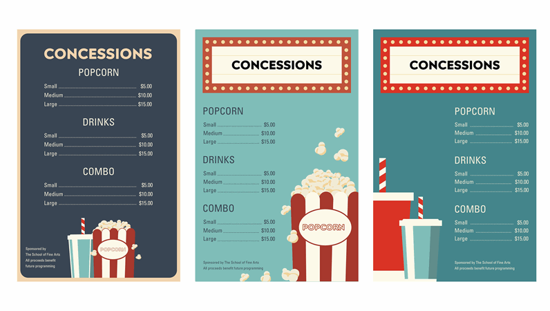 Movie night concession posters