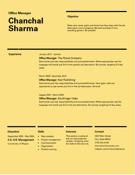 Swiss design resume