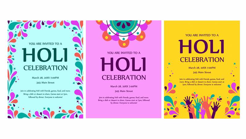 Festival of colors Holi flyer