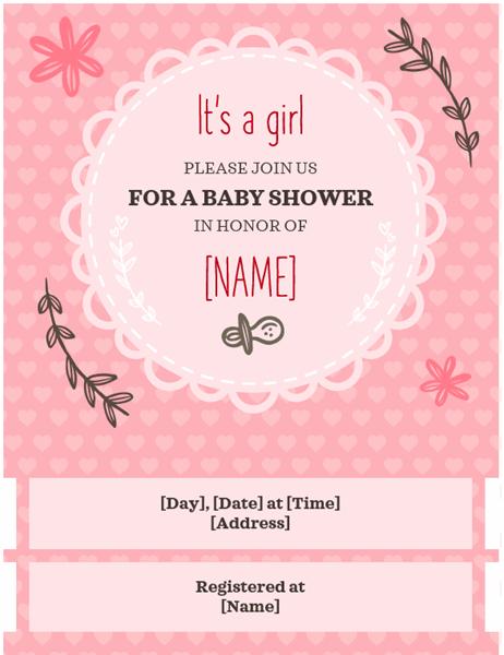 Baby shower invitation - girl