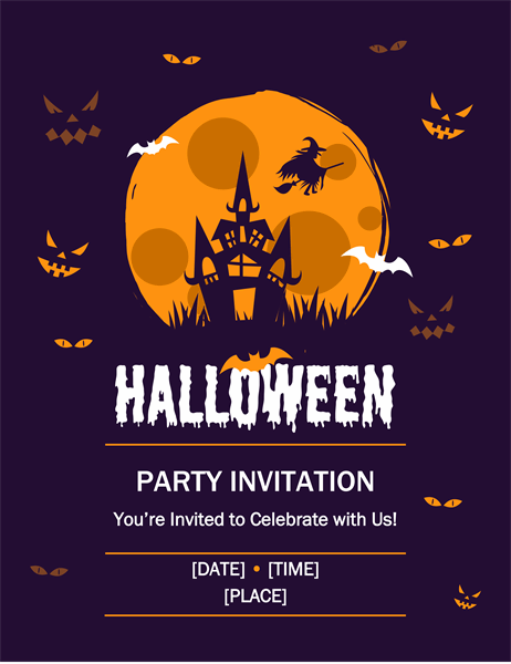 Witch and haunted house Halloween flyer